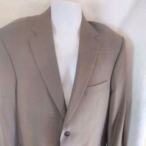 Jos. A Bank Traveler Suit 40R  Taupe Tan Gold Pane